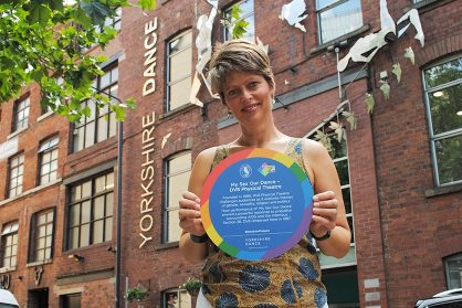 Wieke Eringa with Rainbow Plaque - Leeds Pride - July 2018 © Yorkshire Dance